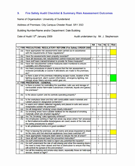 Risk Management Report Template Fresh 12 Example Fire Risk assessment Template Oieht