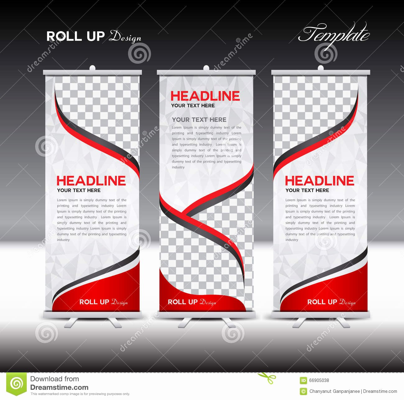 Roll Up Banner Template Awesome Red Roll Up Banner Template Vector Illustration Stock