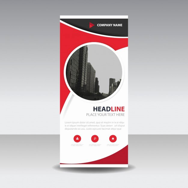 Roll Up Banner Template Beautiful Red Circle Creative Roll Up Banner Template Vector