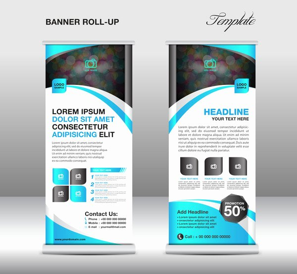Roll Up Banner Template Fresh Roll Up Banner Stand Template Blue Styles Vector 02 Free