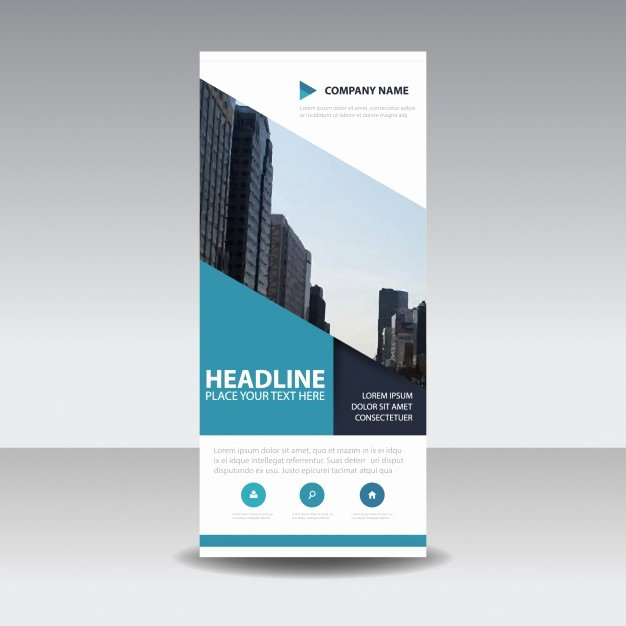 Roll Up Banner Template Lovely Blue Creative Roll Up Banner Template Vector