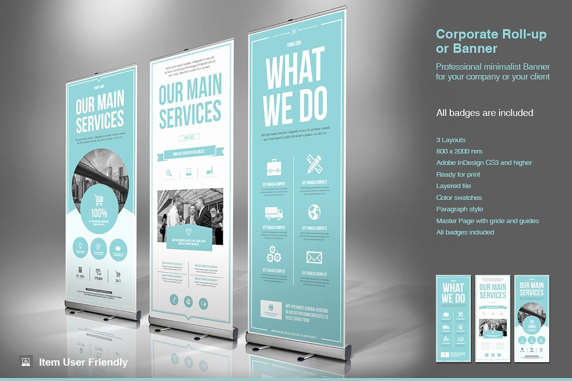 Roll Up Banner Template New Business Roll Up Banner Flyer Templates Creative Market