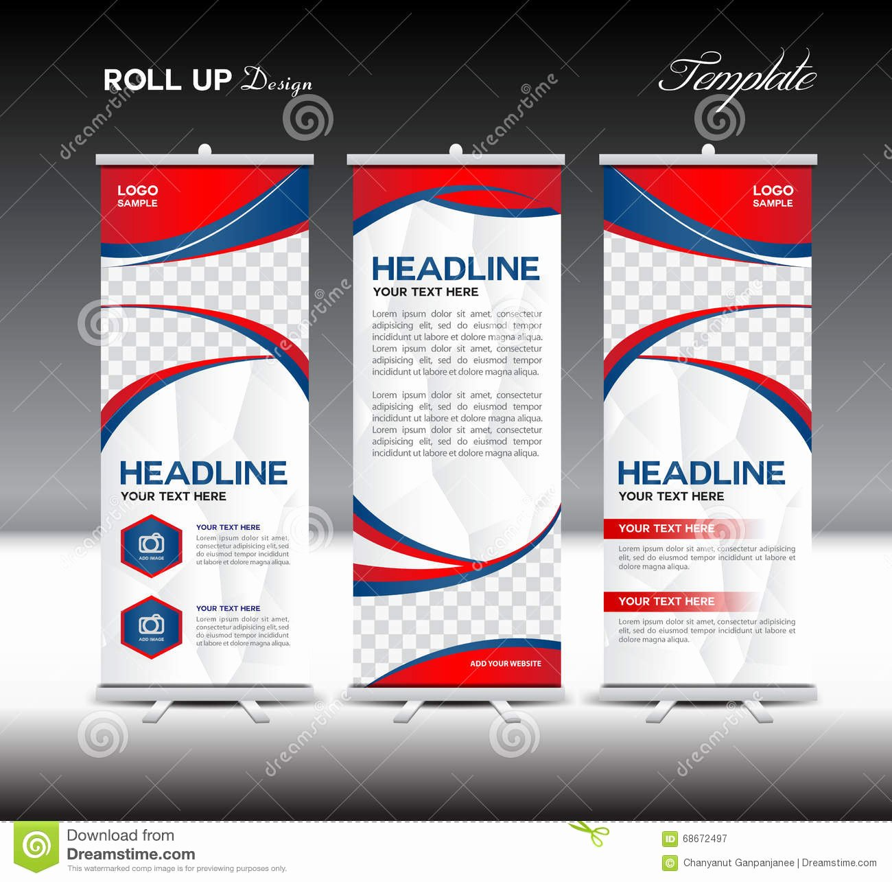 Roll Up Banner Template New Red and Blue Roll Up Banner Template Vector Illustration