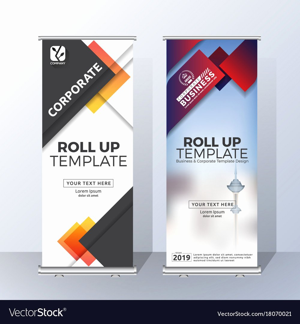 Roll Up Banner Template Unique Vertical Roll Up Banner Template Design Royalty Free Vector