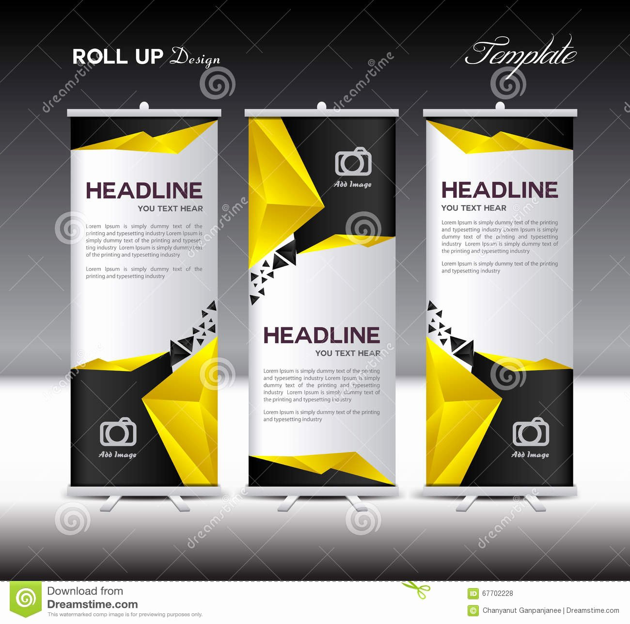 Roll Up Banner Template Unique Yellow and Black Roll Up Banner Template Vector