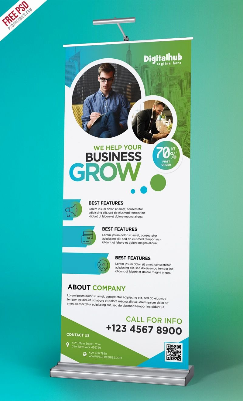 Roll Up Banners Template Awesome Business Promotion Roll Up Banner Template Psd