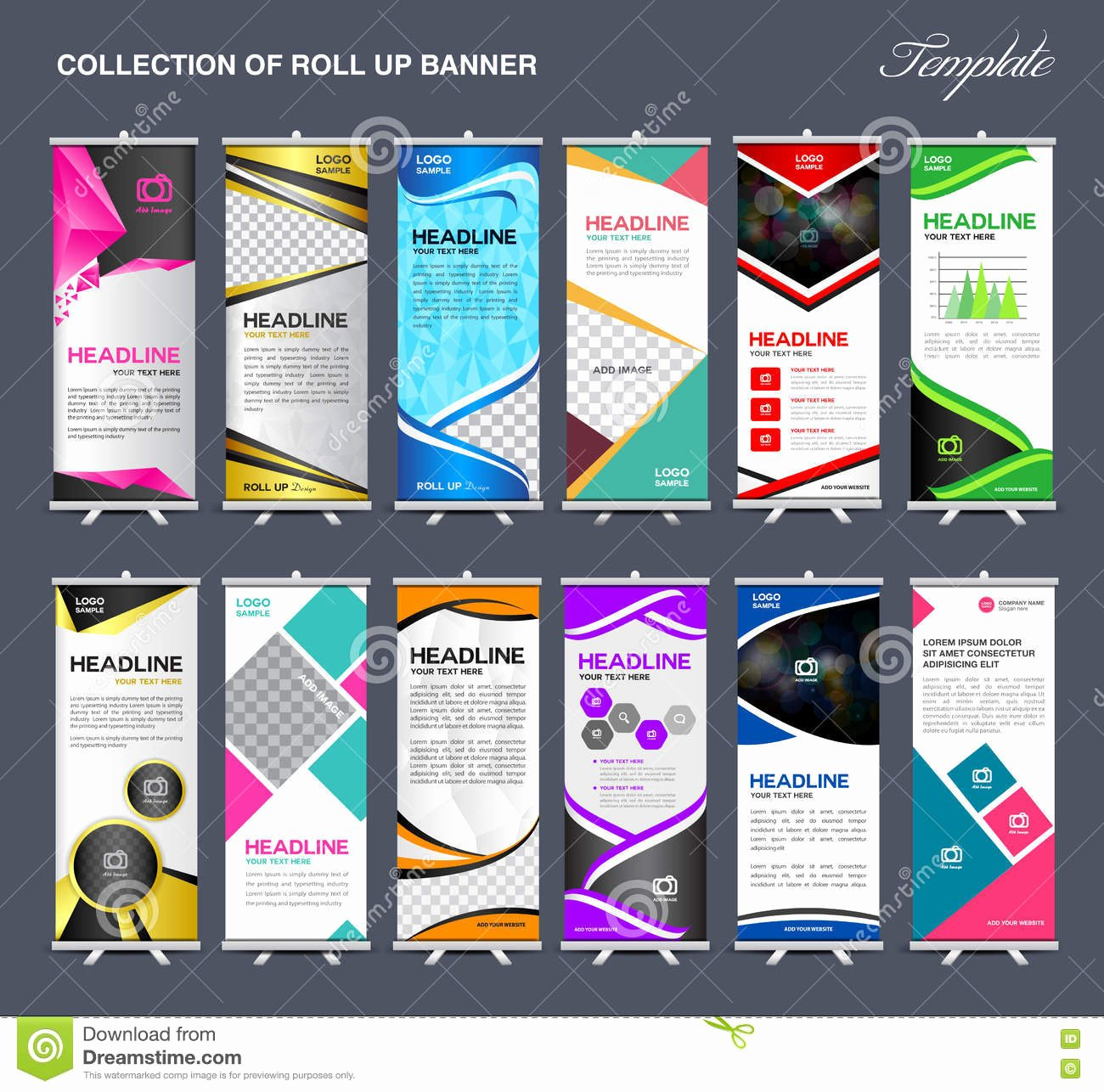Roll Up Banners Template Lovely Roll Up Banner Template Collection Stand Template Vector