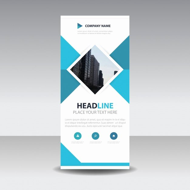 Roll Up Banners Template Luxury Blue Square Creative Roll Up Banner Template Vector