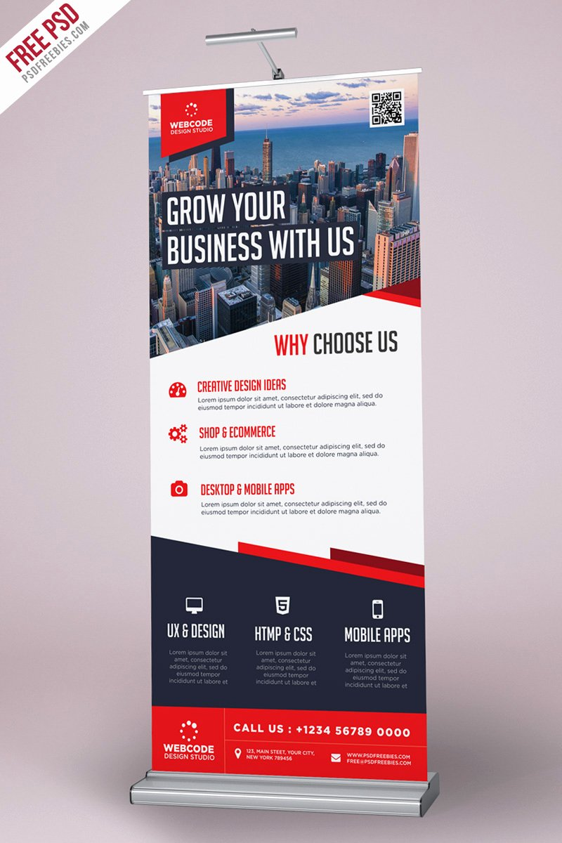 Roll Up Banners Template Unique Corporate Advertisement Roll Up Banner Psd Template