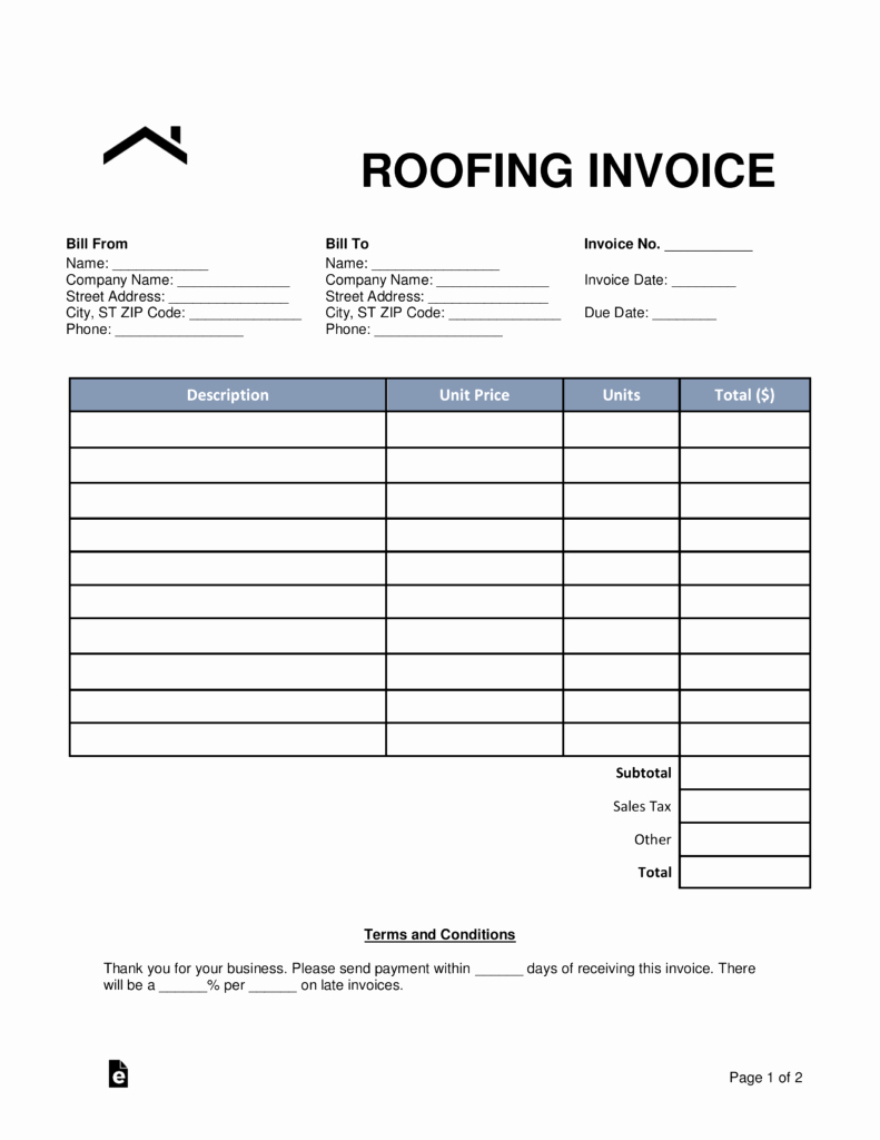 Roof Repair Estimate Template New Free Roofing Invoice Template Word Pdf