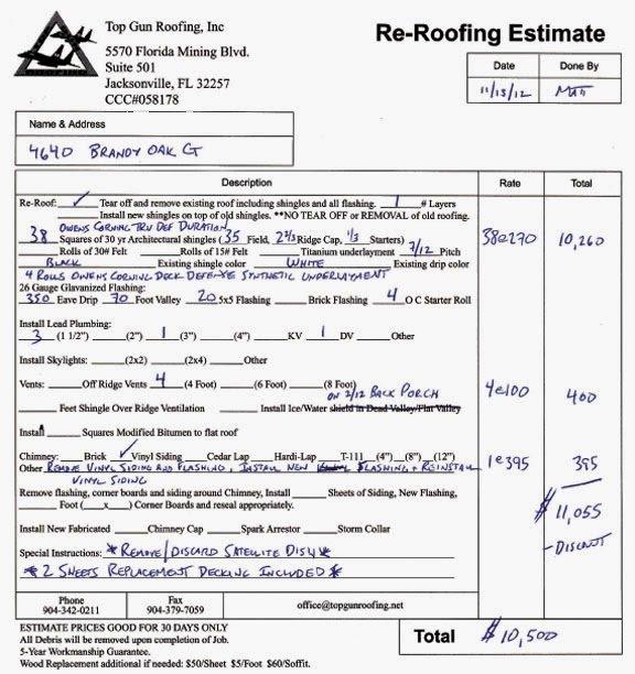 Roof Repair Estimate Template Unique Free Printable Blank Roofing Estimate forms