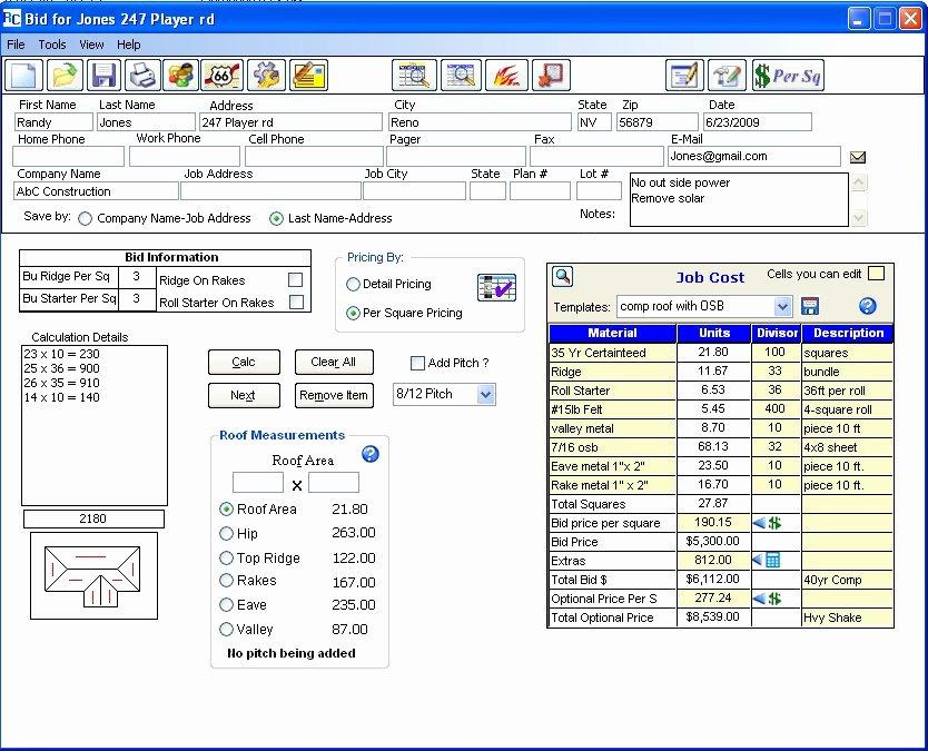 Roof Repair Estimate Template Unique Free Printable Roofing Estimate forms