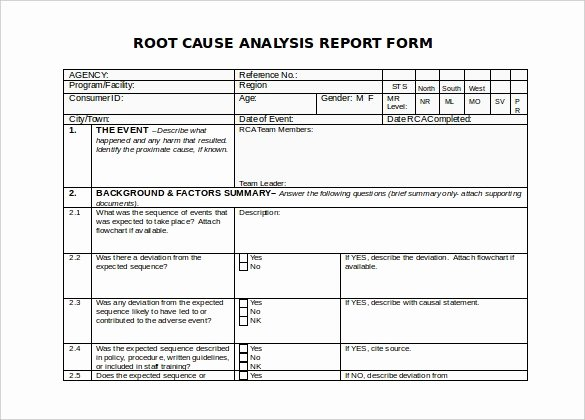 Root Cause Analysis Excel Template New Root Cause Analysis Template