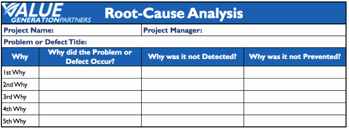 "Root Cause Analysis Excel Template Unique Generating Value by Using ""5 why"" Root Cause Analysis"