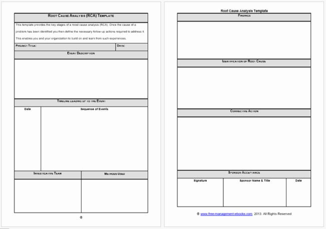 Root Cause Analysis Excel Template Unique Rca Template Root Cause Analysis Templates 8 Docs for Word