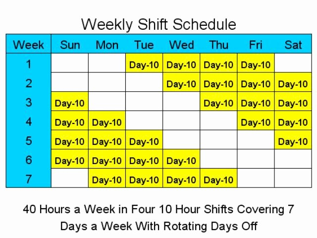 Rotating Shift Schedule Template Awesome 10 Hour Schedules for 7 Days A Week Main Window Shift