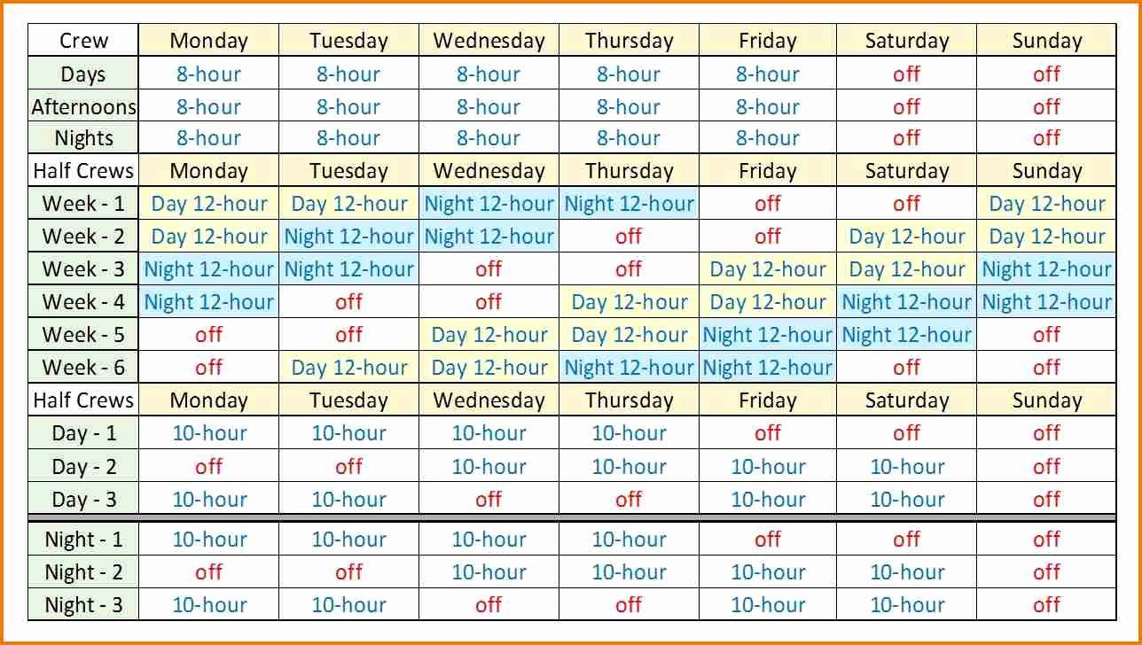 Rotating Shift Schedule Template Beautiful 8 Hour Rotating Shift Schedules Examples