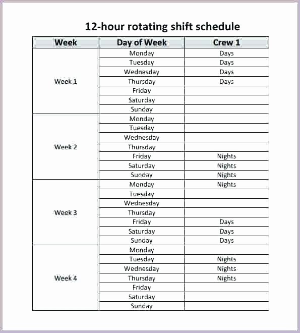 Rotating Shift Schedule Template Best Of Work Schedule Template Free Daily Monthly 24 Hour Roster