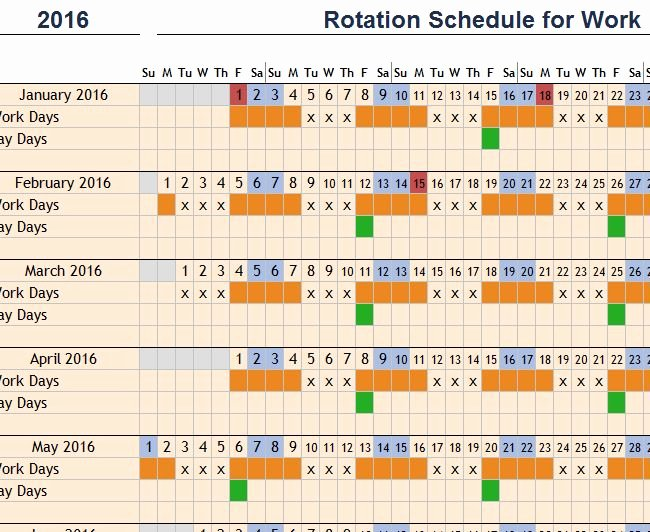Rotating Shift Schedule Template Fresh Rotation Schedule for Work My Excel Templates