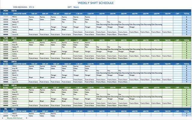 Rotating Shift Schedule Template New 8 Hour Shift Schedule Template