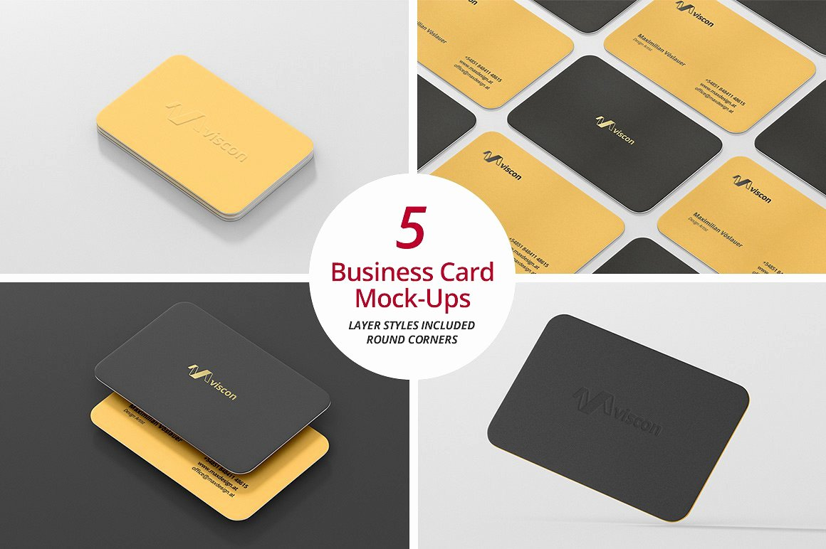 Round Business Card Template Beautiful Business Card Mock Ups Round Corners Print Mockups