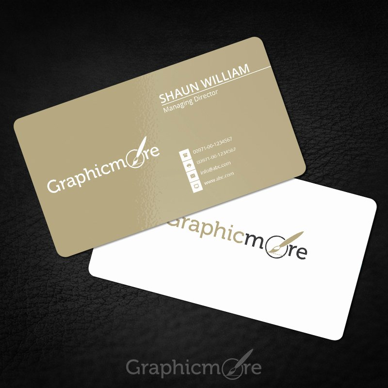 Round Business Card Template Beautiful Rounded Corner Gold Business Card Template & Mockup Free Psd