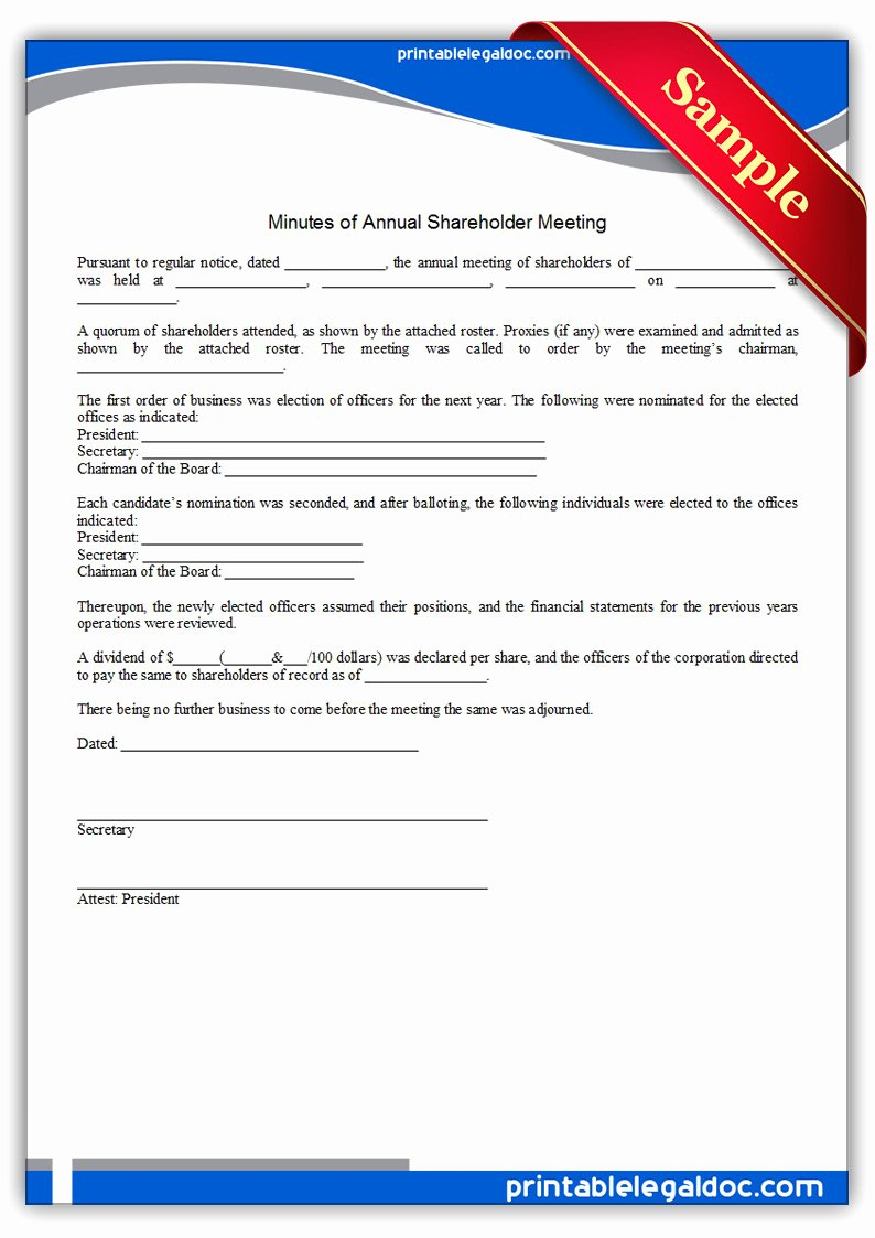 S Corp Meeting Minutes Template Luxury Free Printable Minutes Annual Holder Meeting form