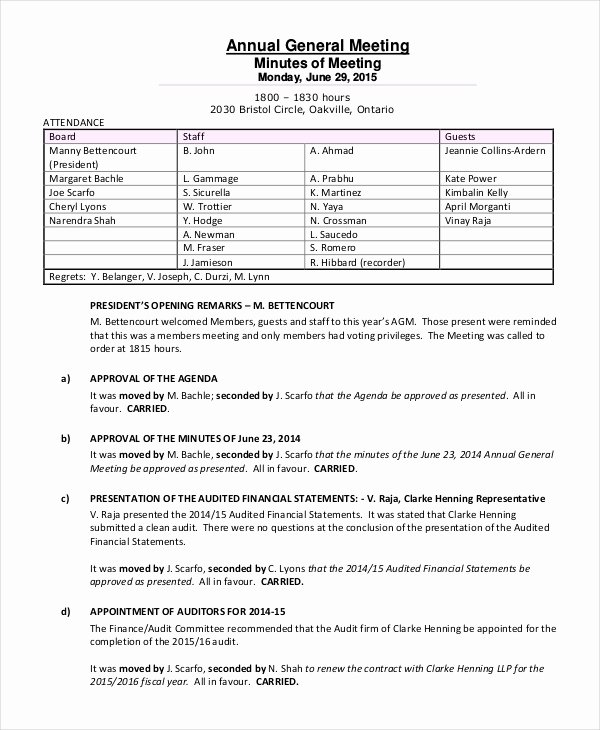 S Corp Minutes Template Awesome Annual Meeting Minutes Template 10 Word Pdf Document