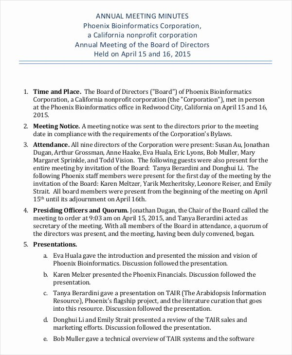 S Corp Minutes Template Elegant Annual Meeting Minutes Template 10 Pdf Word Google
