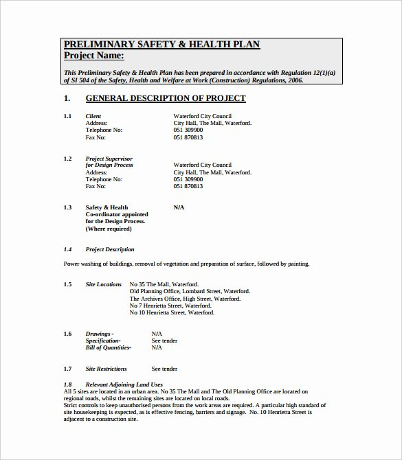 Safety and Health Program Template Elegant 13 Health and Safety Plan Templates Free Sample