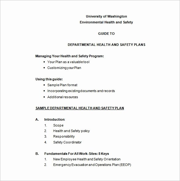 Safety and Health Program Template Fresh 11 Health and Safety Plan Templates Google Docs Ms