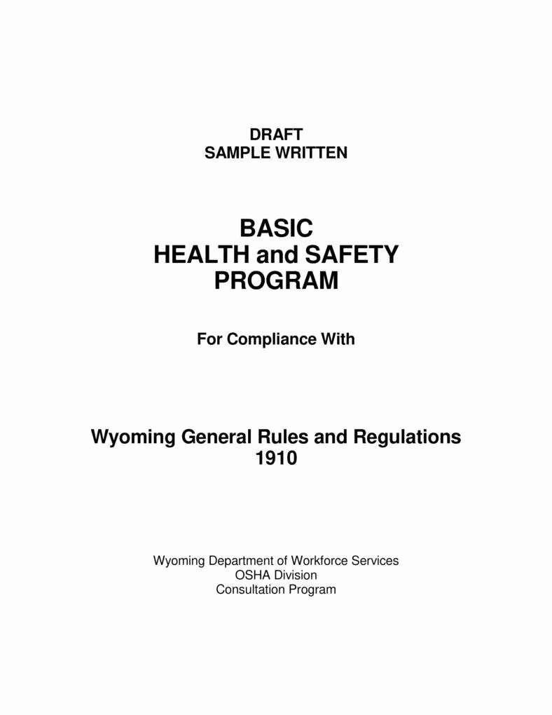 Safety and Health Program Template Fresh 7 Health and Safety Proposal Templates