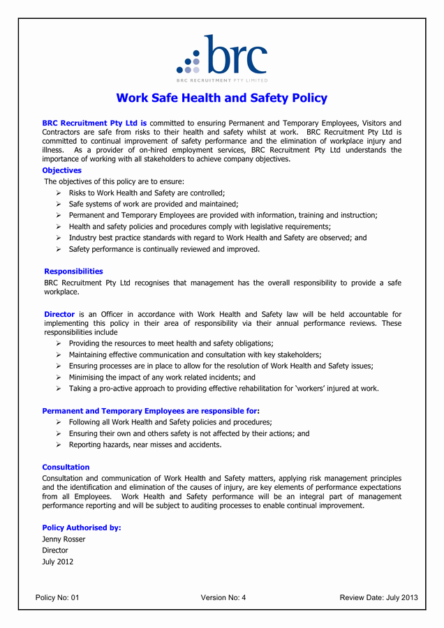 Safety and Health Program Template Fresh Health and Safety Review Template Gallery Template