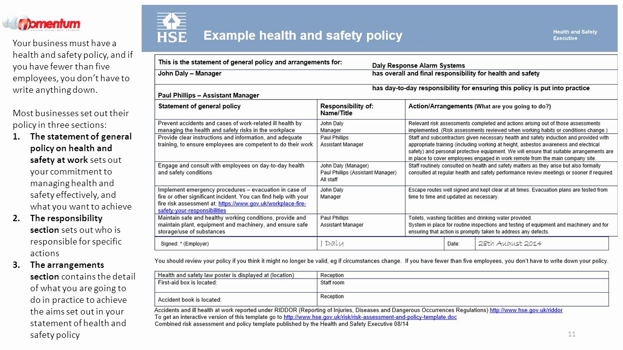 Safety and Health Program Template Fresh Health Health and Safety Policy Template