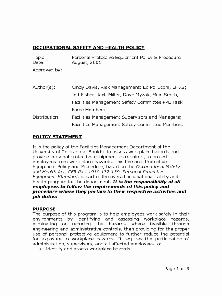 Safety and Health Program Template Inspirational 2019 Policy Template Fillable Printable Pdf & forms