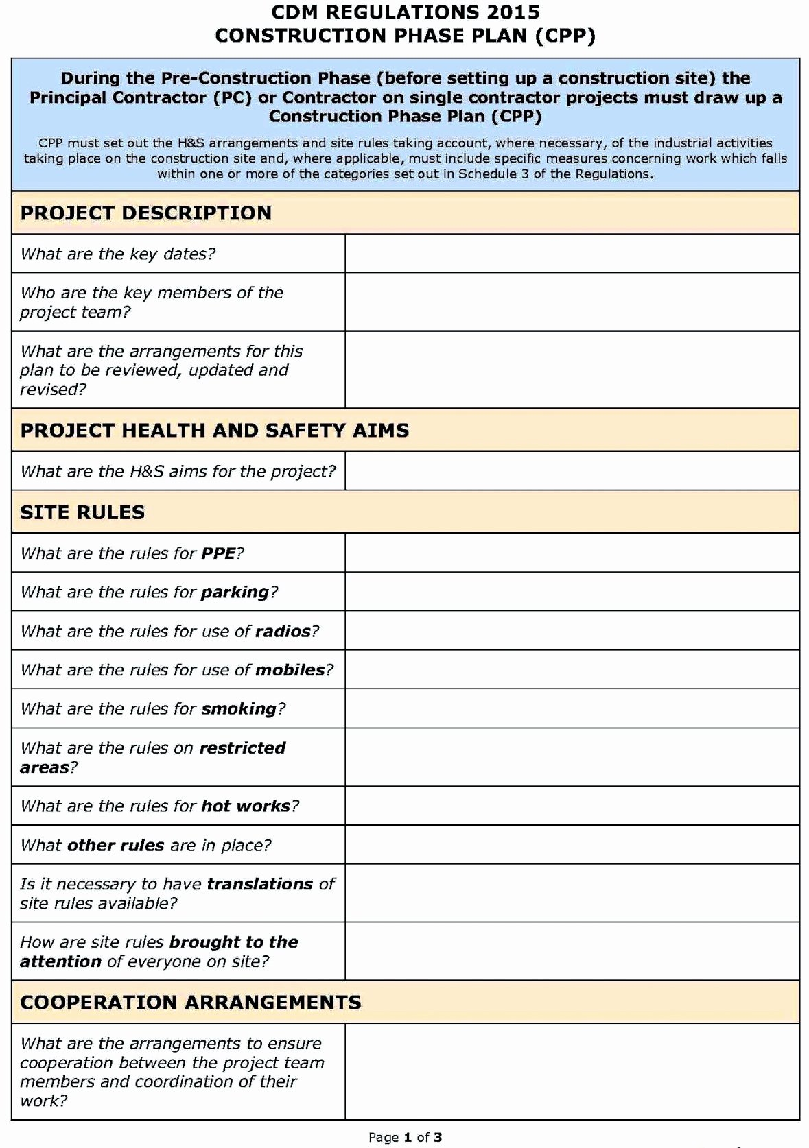 Safety and Health Program Template Lovely assessment Construction Risk assessment Template