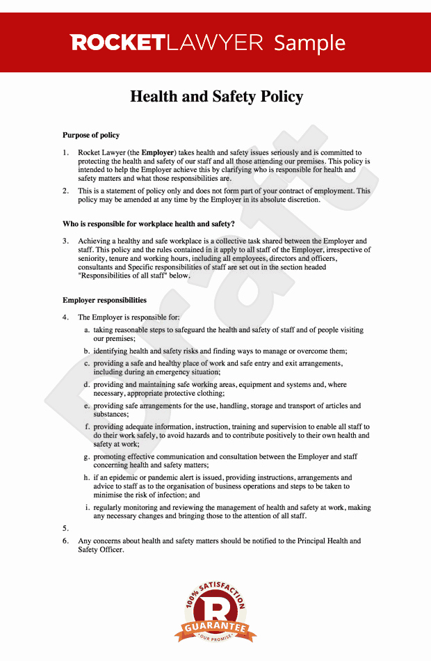 Safety and Health Program Template Lovely Free Health and Safety at Work Policy Template Line