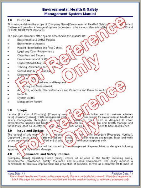 Safety and Health Program Template Luxury Environmental Health and Safety Manual Template