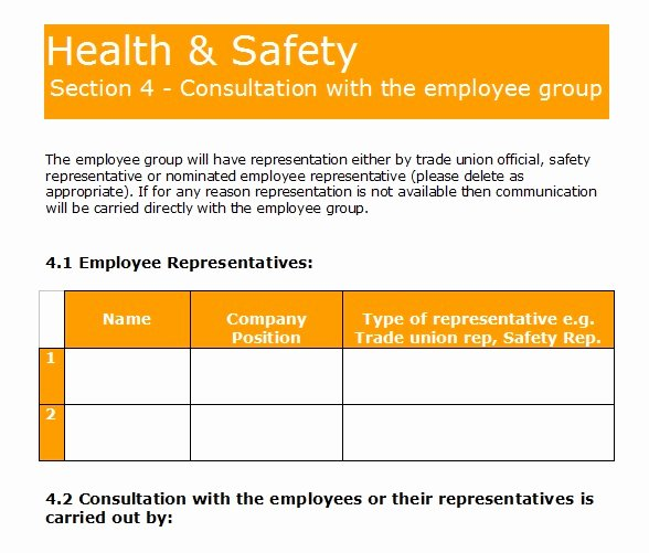 Safety and Health Program Template Luxury Gas forms Health and Safety Policy Template