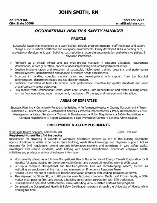 Safety and Health Program Template Luxury Occupational Health and Safety Manager Resume Template