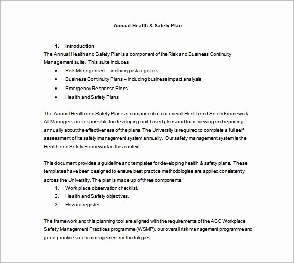 Safety and Health Program Template New 11 Health and Safety Plan Templates Google Docs Ms