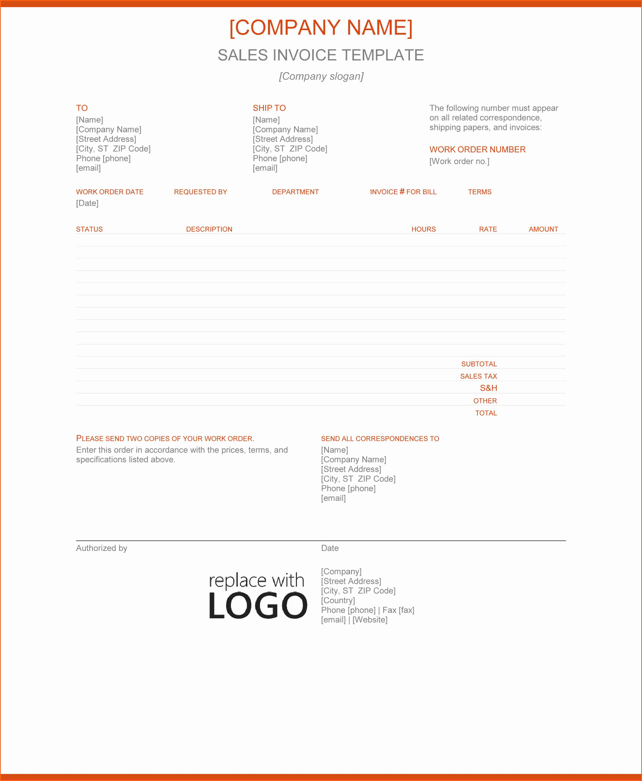 Sale Invoice Template Word Lovely 6 Word Sales Invoice Template Bud Template Letter