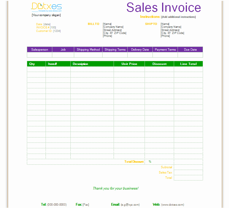 Sale Invoice Template Word New Free Invoice Template for Word Excel Open Fice and