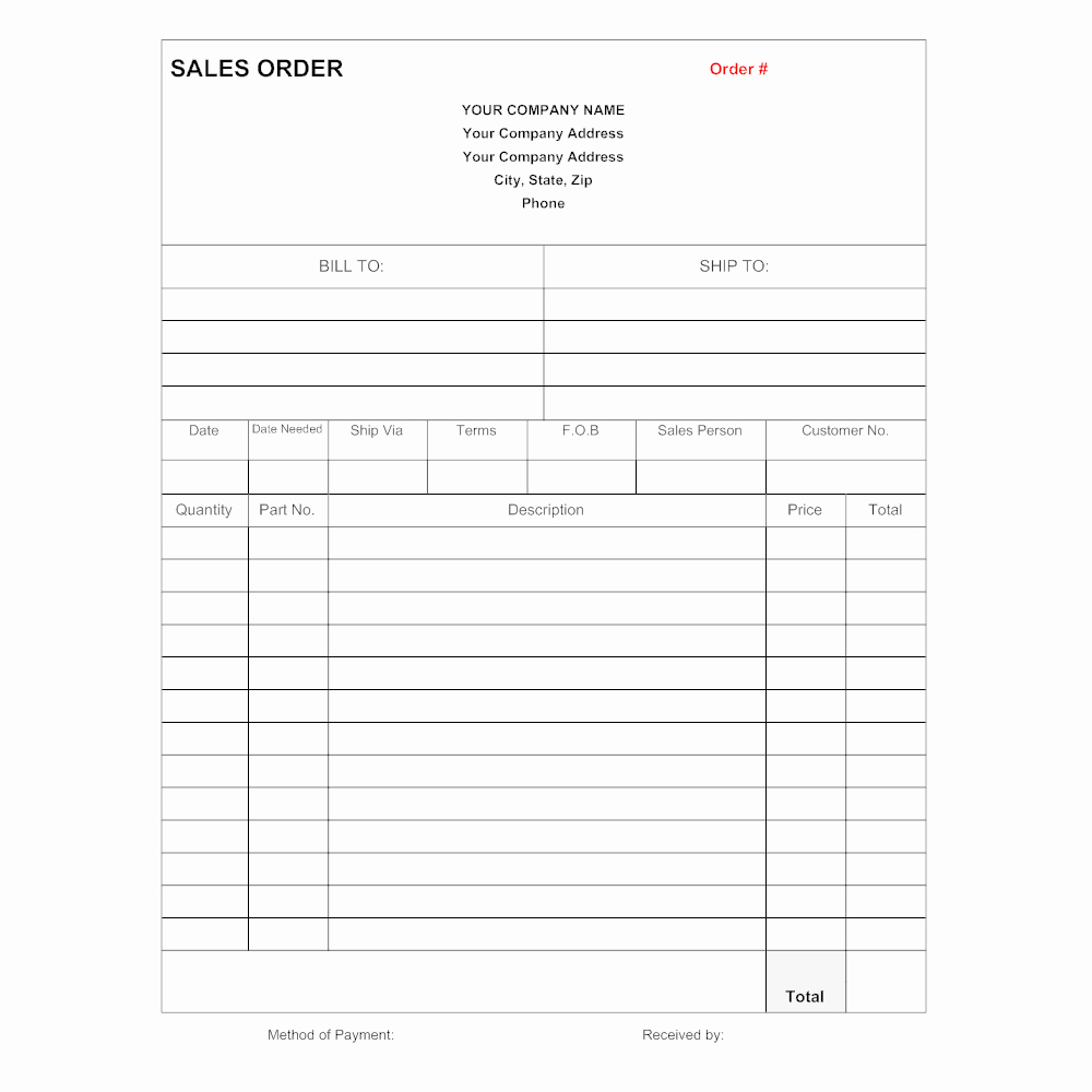 Sale order form Template Fresh Sales order form