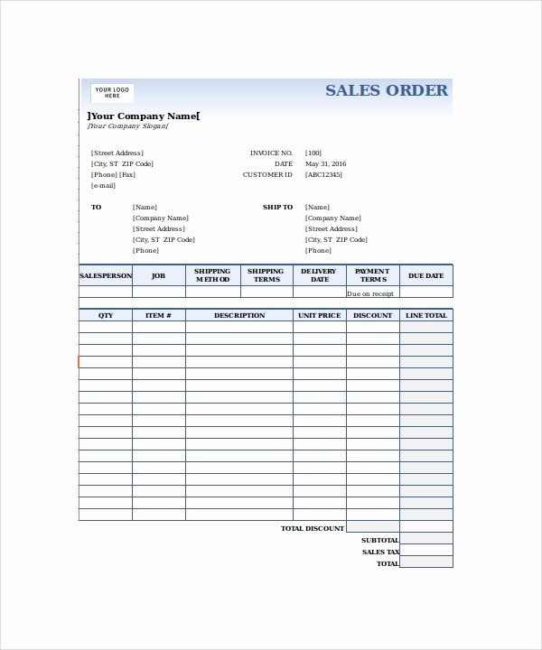 Sale order form Template Inspirational 23 order form Templates – Pdf Word Excel