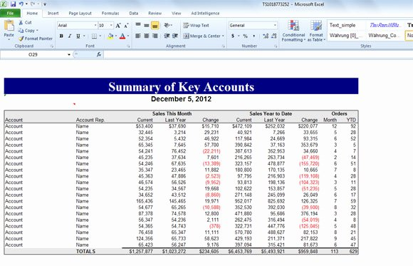 Sales Account Plan Template Luxury Summary Of Key Accounts Template for Excel