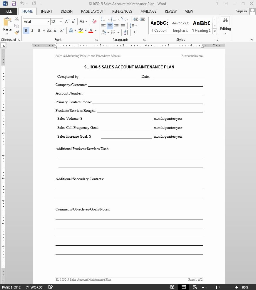 Sales Account Plan Template New Sales Account Maintenance Plan Template