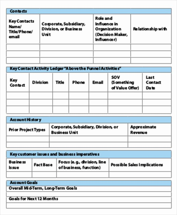 Sales Account Plan Template Unique 40 Strategic Plan Templates