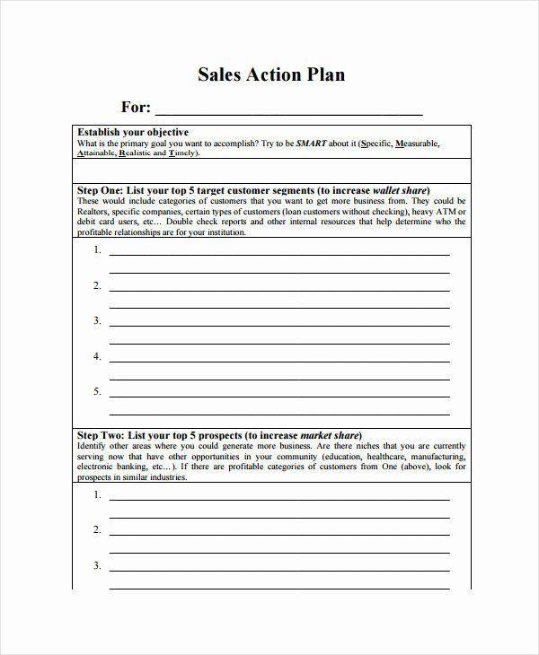 Sales Action Plan Template Fresh 11 Monthly Sales Plan Templates Sample Example format