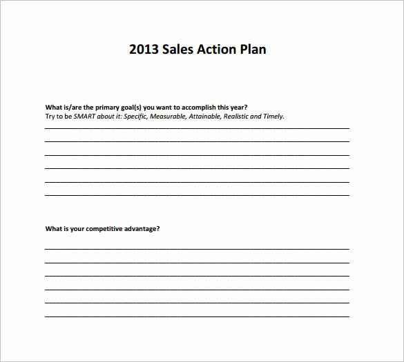 Sales Action Plan Template Fresh 11 Sales Action Plan Samples